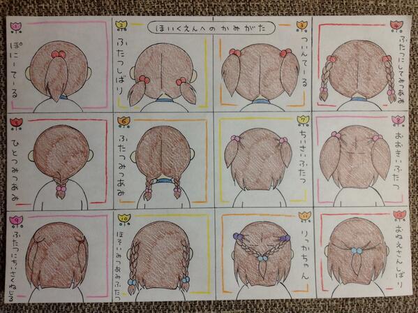 毎朝髪の毛縛るのに注文がうるさい娘のために妻が手描きのリクエスト表を作りました(^_−)−☆ http://t.co/zjBiMBFUhP