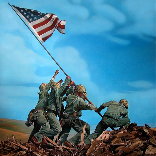 Feb 23, 1945 five Marines and a Navy Corpsman raise an American flag during the Battle of Iwo Jima http://t.co/Tba6IWLfZz