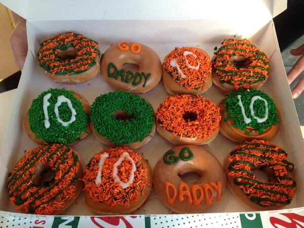 Thanks to  @krispykreme for the good luck donuts they made @danicapatrick & her @godaddy crew! #itsgotime http://t.co/AHILhl8PLC