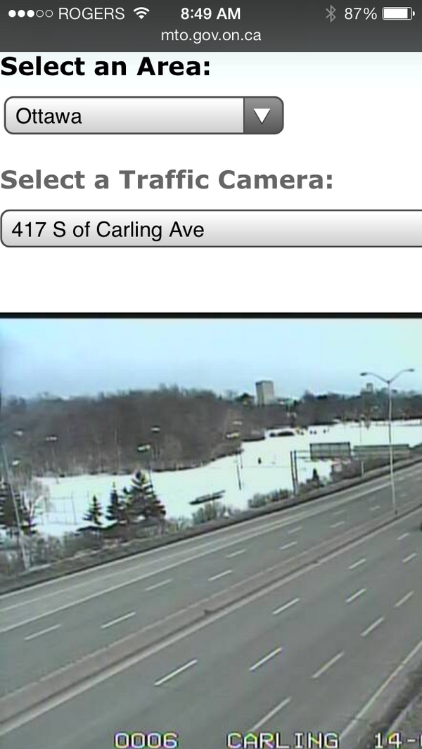 MTO 417 Traffic Cam at Carling Ave. #Ottawa Must be a hockey game on. #GoCaanadaGo http://t.co/tRxPTmhgfM