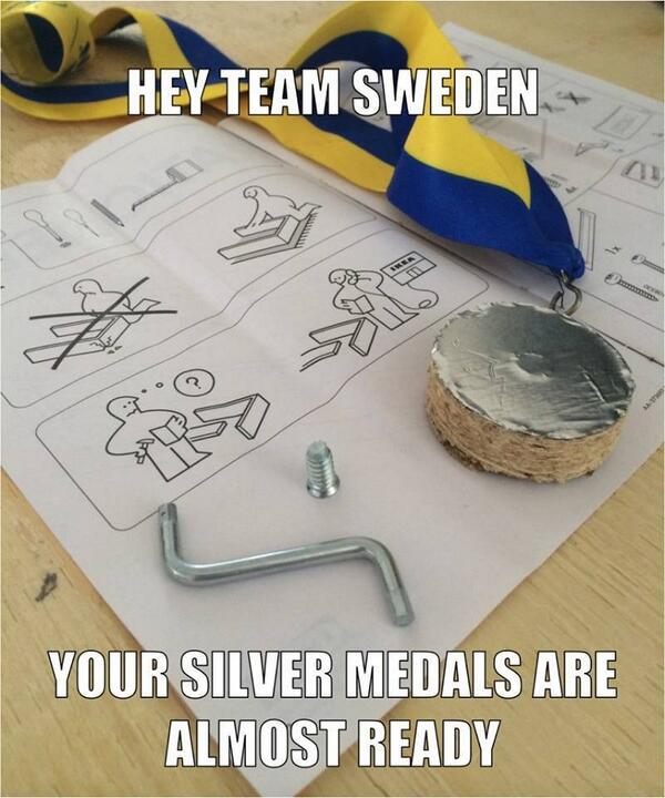 Hey team Sweden - your silver medals are almost ready #GoCanadaGo http://t.co/HPw5EQrLkG