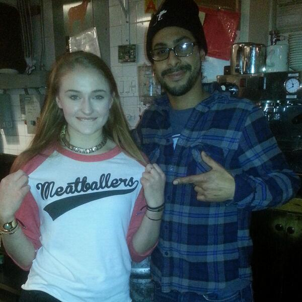 Thanks @Sophiee_Turner for coming through #TheMeatballShop LES last night and repping the MEATBALLERS tee! http://t.co/GD29mtfIBG