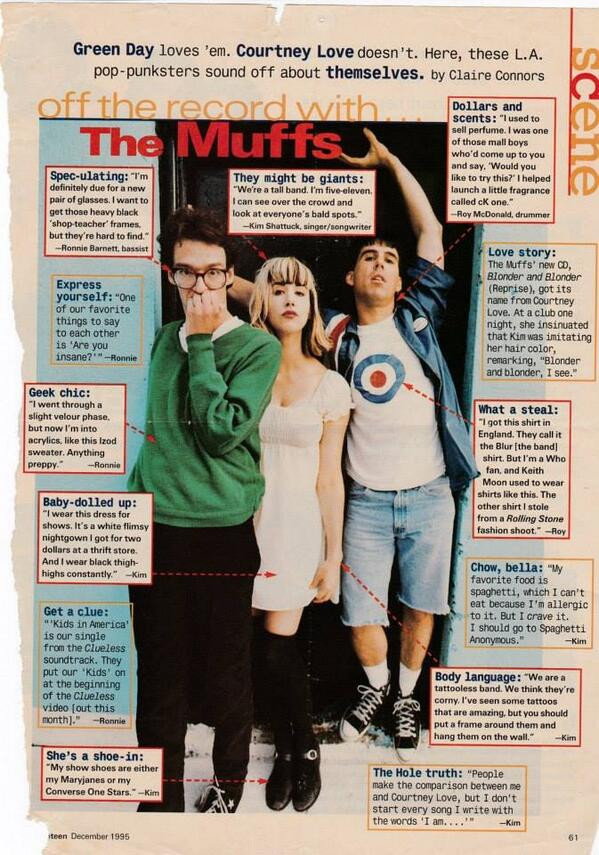 Some nice person reposted this Seventeen Magazine article from 1995. So funny!!! #themuffs @BURGERRECORDS http://t.co/lxFNO1G6OV
