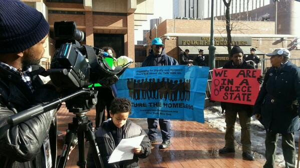 At NYPD hq - getting ready to make some noise about homeless profiling in the subway! #PaidMyFare http://t.co/DiNT92yNJC