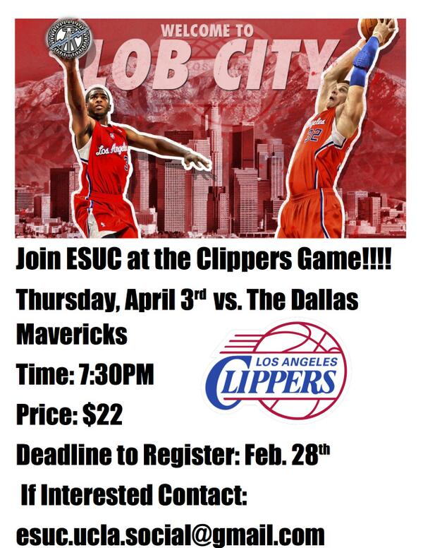 Esuc On Twitter Join Esucla For The Clippers Vs Mavericks