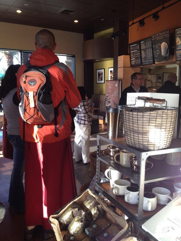 How do you know the Dalai Lama is here?! Monks at Starbucks!! #DalaiLamaSCU http://t.co/QfeaYqQIxI