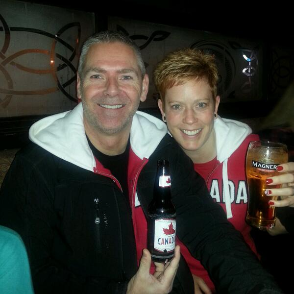 @KellyandMichael Here is my hubby and I drinking at 5:00 AM to watch the GOLD medal Olympic hockey game in Alberta. http://t.co/VGfSxS89F7