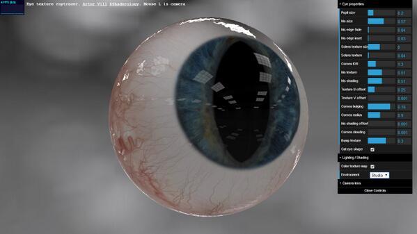 WebGL eye by @shaderology. http://t.co/L9EIm8BJ47 http://t.co/TfkqYsSziC