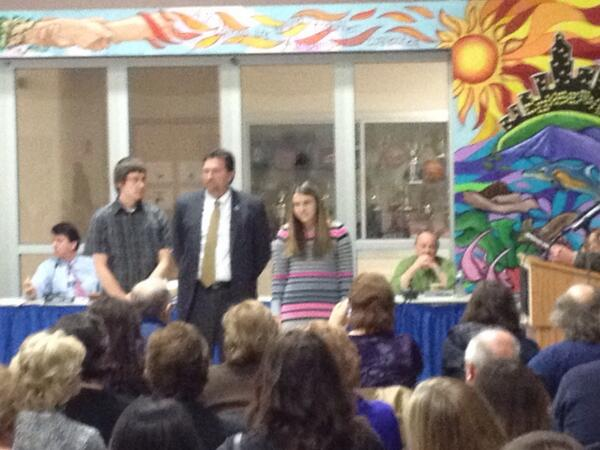 Eric LaCava and Christina Ferrari, nAtional merit scholar finalists with superintendent David Goodin http://t.co/ZXtZTx3T8v