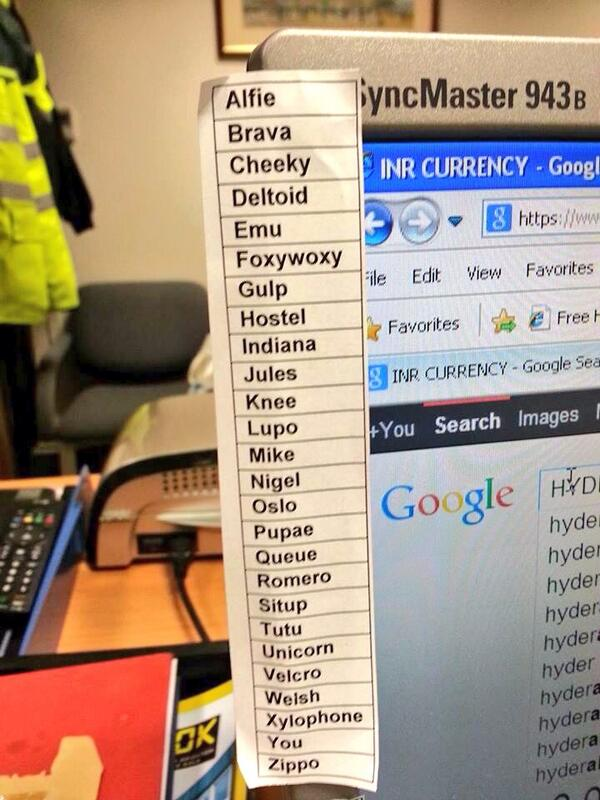 Uk Cop Humour On Twitter Suggestions For Our Own Phonetic Alphabet Http T Co Nqojclox5h
