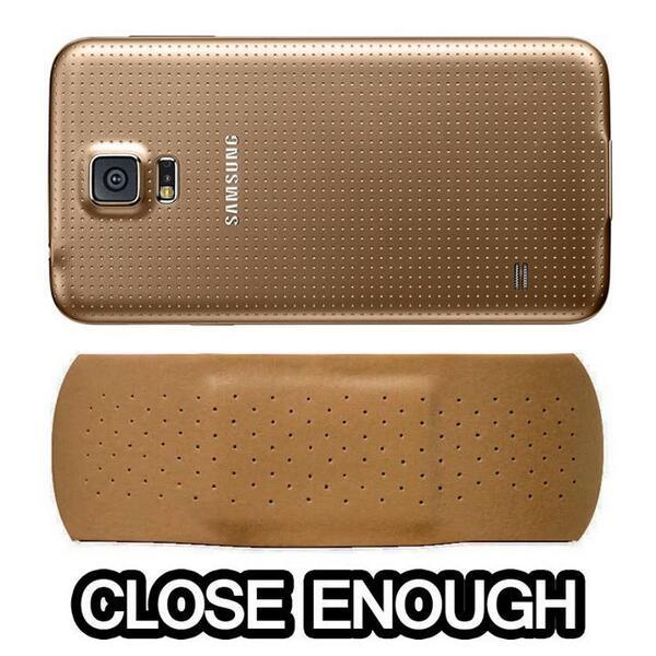 Samsung Galaxy S5 looks like a band aid. Close Enough http://t.co/EnPboJCbWS