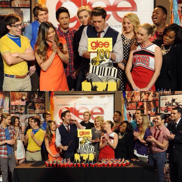 The GLEE cast celebrates during the GLEE 100th Episode http://t.co/WpzGIu7hiK