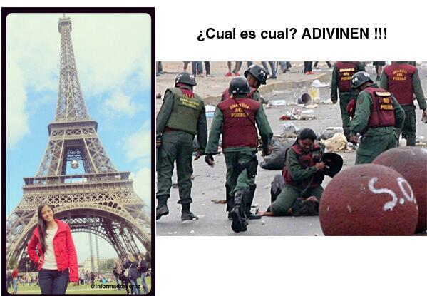 Tu pones FOTOS FALSAS de armas. Yo FOTOS VERDADERAS de tu hija en Paris y de victima de la represión @dcabellor - http://t.co/AZFp6yEHTz