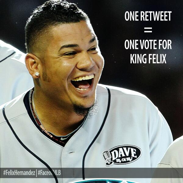 Done. RT @Mariners: It's showtime, Seattle. RETWEET to make #FelixHernandez the 2014 #FaceofMLB http://t.co/xERQ8t1zzU