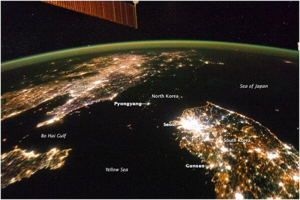 It couldn't get more graphic! RT @TheAtlantic: An astronaut's view of North Korea http://t.co/IWcprkqJqm (NASA/ISS) http://t.co/FlyeGNpbz5