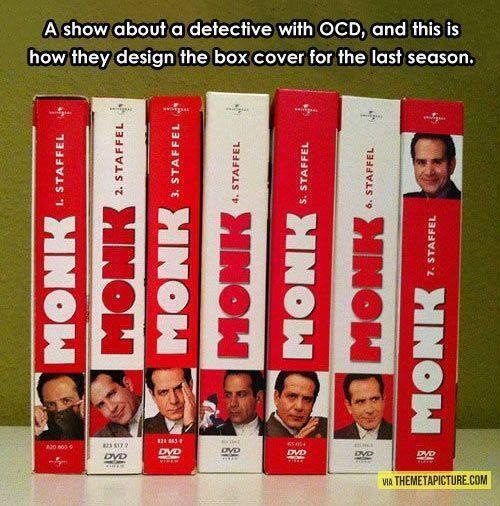 DVD designers of famously OCD detective Monk screw with OCD fans' heads RT@OCD_Nightmares  This is so evil... http://t.co/41TsTAdIVV