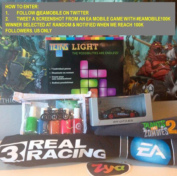 #GIVEAWAY: Get @EAMobile to 100K followers & you could score this EA Gift Pack!  #eamobile100K http://t.co/Q2WlFBttWz