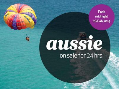Aussie on sale for the rest of the day! From $149 one way pp to SYD, OOL, MCY + more deals at http://t.co/zipa9QS1is http://t.co/8XcxJTeNEi