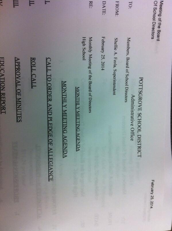 I 'm at the #Pottsgrove School Board meeting and will be live-Tweeting. Follow along at #PGSB. @MercuryX http://t.co/H8UOID7kiI