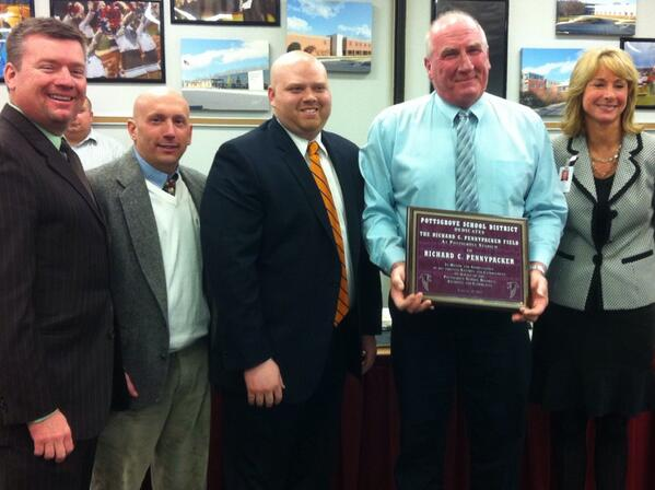 #Pottsgrove HS Football Coach Rick Pennypacker with the plaque naming the football stadium after him. #PGSB @Mercury http://t.co/ACo0cNn61T