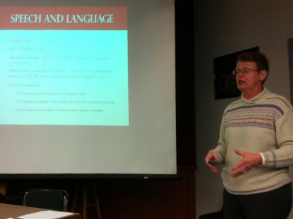 #Pottsgrove Special Education Supervisor Ann Myers making a presentation on the special ed budget. #PGSB @MercuryX http://t.co/Hk71PJ9J3V