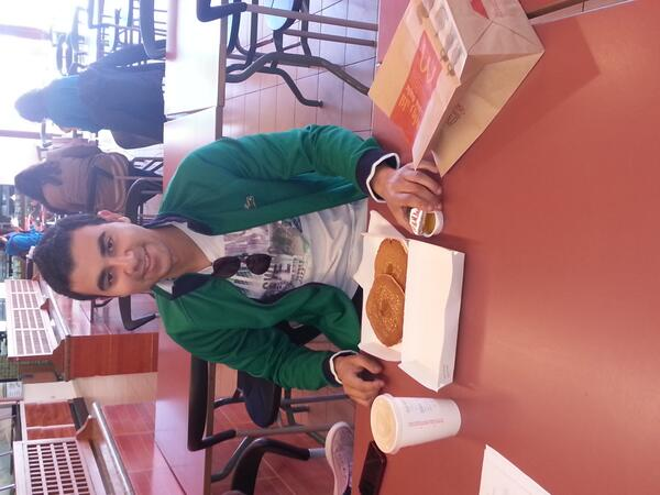 #Jrmc292 Q8: Ahmed Kamal, Electronics Junior student always enjoys his breakfast from MacDonalds. http://t.co/CkWf1lBmso