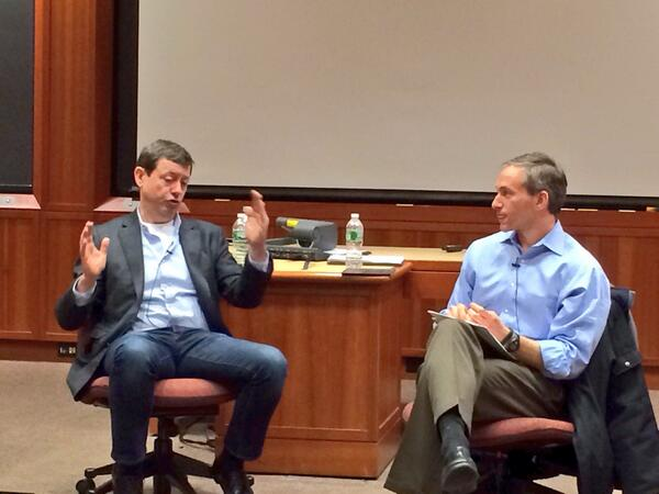 "Fireside chat @fredwilson @bussgang ""Have a courageous vision that you won't let users get in the way of!"" #HBSLTV http://t.co/B9KGjVgqrc"