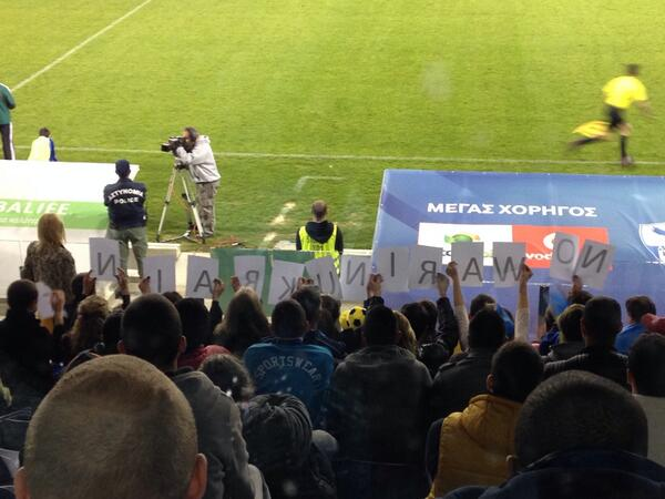 There was a big banner saying Ukraine is Undivided   One Country, One Team at the United States friendly