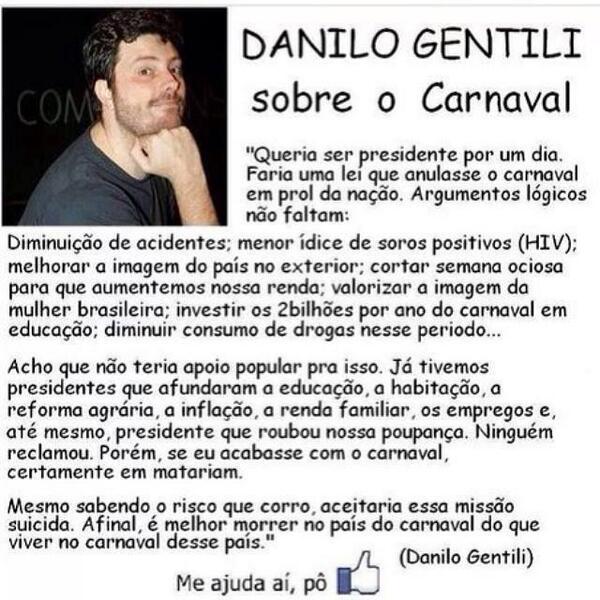 Danilo Gentili fala sobre o Carnaval BhaFHjNCMAEAf8Z
