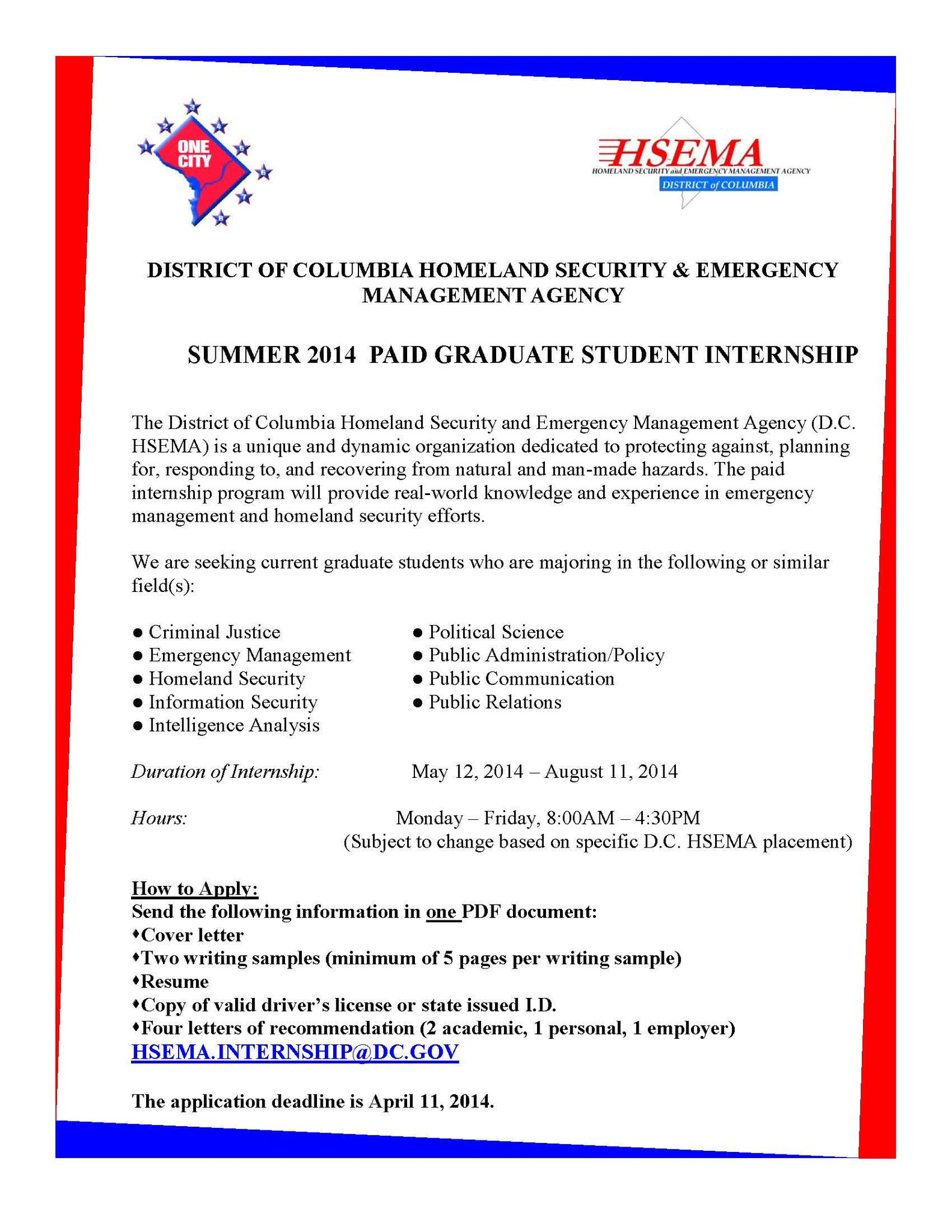 Twitter / DC_HSEMA: We're looking for graduate ...