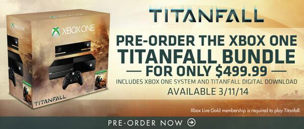 #XboxOne #Titanfall Bundle Only $499.99! Includes Console and Titanfall Digital Download. http://t.co/O28LlCfs0X http://t.co/TJFu6gxrBc