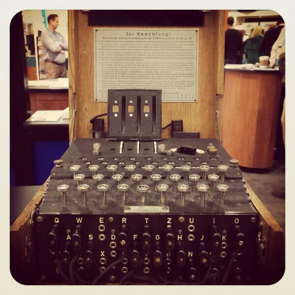 look @bonniegrrl what i found at the #nsa booth > 1947 german enigma #cipher machine. rad! ^_−☆ #rsac http://t.co/jdsEygvKNV
