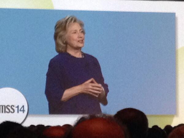 """""""We are finally seeing the promise of electronic health records"""" says #HillaryClinton #HIMSS14 #healthit http://t.co/3ASRt0dMOK"""