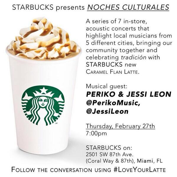 #Miami come #JoinMe tmrw Feb27 @Starbucks #coffee @ 7pm & #enjoy @PERIKOMUSIC @SESAC #LoveYourLatte #NochesCulturas http://t.co/kzdKG3fY57