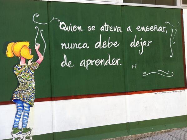 En la puerta del cole, frase de P.Freire. #frasesparaorientar http://t.co/CmRp8kGhbE