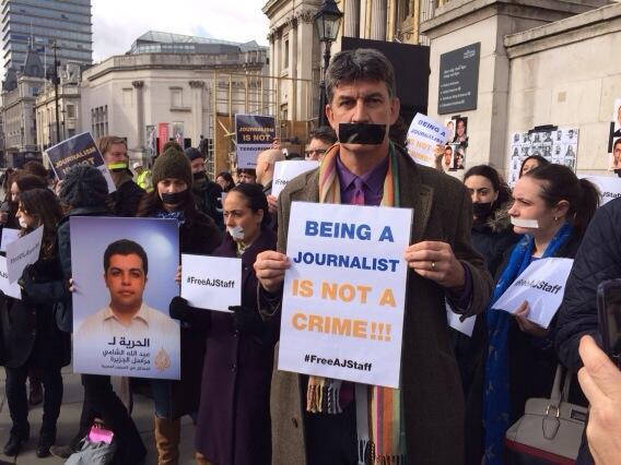 #FreeAJStaff Trafalgar Square , London http://t.co/gKqzMOmuHx