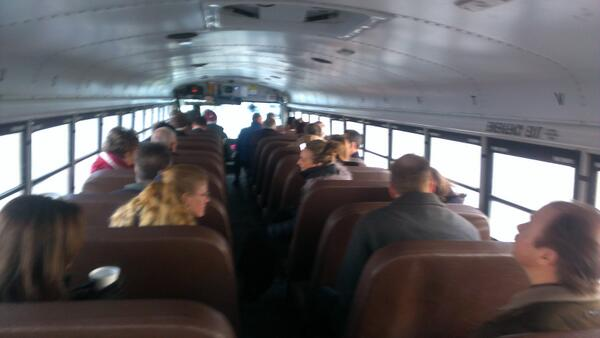 The wheels on this bus are going to downtown St. Paul for the joint leg conf. Here we come, Crowne Plaza #lmcleg http://t.co/vups02Bqpk