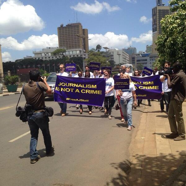 I'm proud to be a journalist today. Thanks #kenya for giving us the right to protest and do our jobs. #FreeAJStaff http://t.co/DLOWPQZsdr