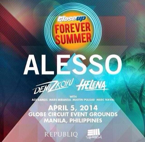 Manila! So many tweets about @CloseupPH summer party! Excited to be joining @Alesso and @DenizKoyu - see you there:) http://t.co/AyNFGT1Ot3