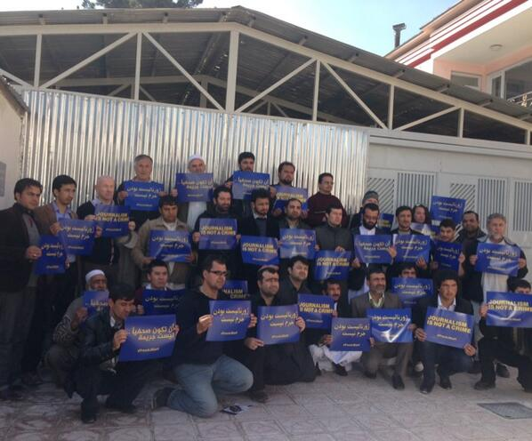 Journalists in #Kabul protest to #freeAJstaff jailed in #Egypt http://t.co/DAFq8ckStn