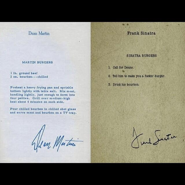 Sam Robson On Twitter The Perfect Burger Recipe From Dean Martin And Frank Sinatra Http T Co Qafukzyhp3