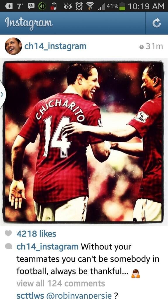 Man Uniteds Chicharito clarifies his Instagram post: Had nothing to do with RVP. Were great teammates [Tweets]