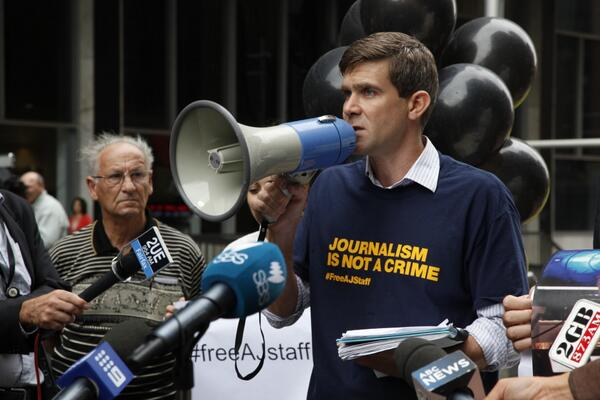 Sydney solidarity stand with journalists detained in #Egypt #FreeAJStaff http://t.co/NiOciuEvef http://t.co/3wdwFDid1b