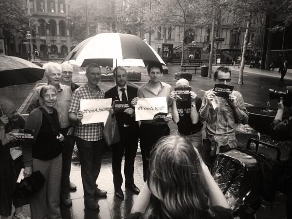 Friends &family of @PeterGreste at #sydney #FreeAJStaff protest- london protest happening now at Trafalgar Square http://t.co/iqLOjr68Ks