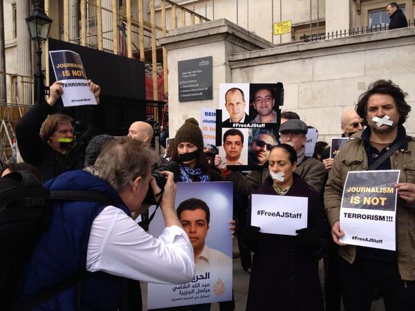 attending Trafalgar Square demonstration against imprisonment of @PeterGreste and colleagues in Egypt #FreeAJStaff http://t.co/lkw21v6q9o
