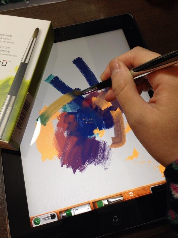 職場の人に教えてもらった sensu brushという毛筆スタイラスペンがすごいい! アナログで絵の具を塗ってる感じがする!