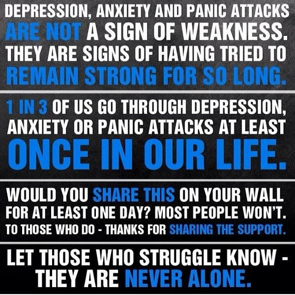 Re-tweet this if you know someone who has struggled with depression or anxiety and let them know you have their back! http://t.co/05ZyzKIZ9Q