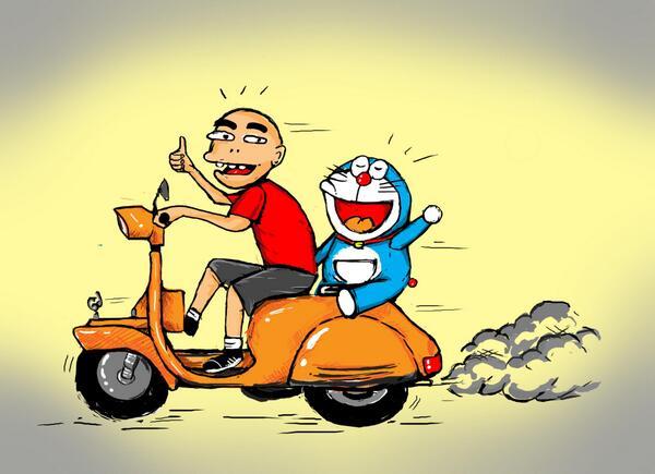 9000 Gambar Doraemon Naik Motor Gratis Gambar Id
