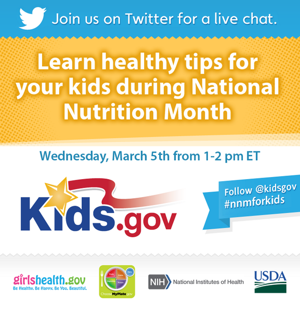 Join us for next Weds., March 5th @ 1pm for a Twitter chat on healthy eating tips for your kids! #NNMforkids #nnm http://t.co/aXHPj9HC6K
