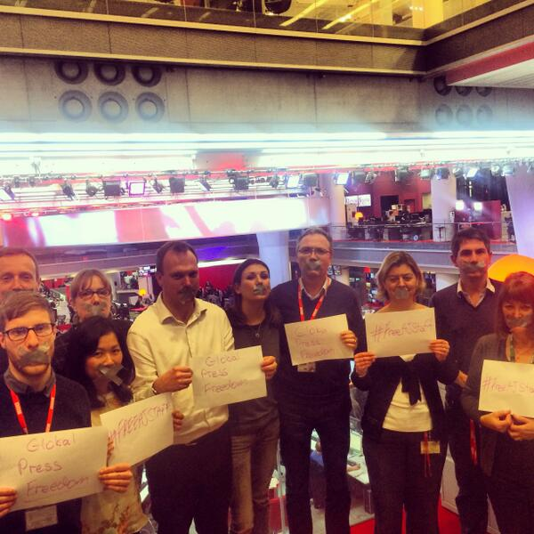 BBC team in London on solidarity day for al-Jazeera journalists held in Egypt http://t.co/Pk01mGWmsQ #AJE http://t.co/4kEp7PezXC